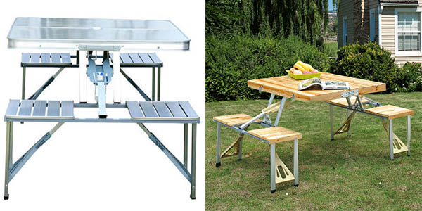 mesa de cámping plegable de madera y acero anodizado barata
