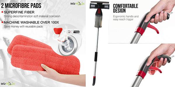 mopa con spray para todo tipo de superficies con depósito de agua y paños lavables