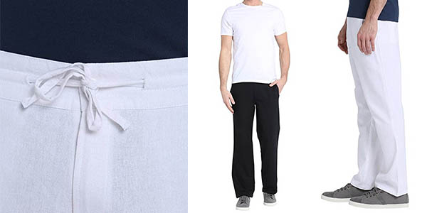 pantalones de verano negro o blanco anchos para hombre con genial relación calidad-precio