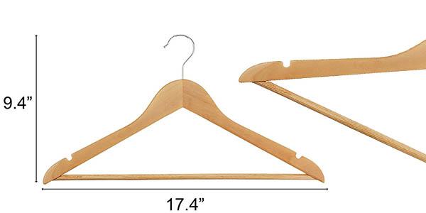 perchas de madera con gancho de metal giratorio fuertes