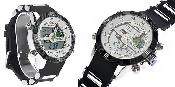 reloj Weide Pixnor WH-1104 con correa de caucho negra barato