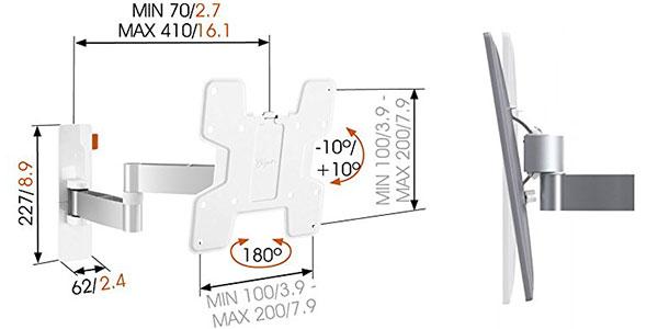 Soporte de tv Wall 2145 con 2 brazos y giro de 180 blanco rebajado