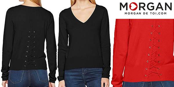 suéter Morgan en viscosa para mujer con cuello de pico barato