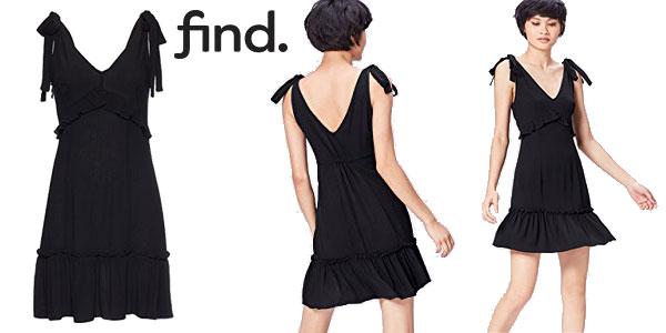 Vestido negro con lazadas estilo vintage de Find chollo en Amazon