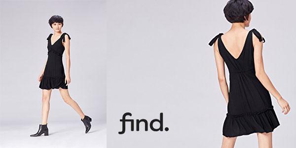 Vestido negro con lazadas estilo vintage de Find chollazo en Amazon