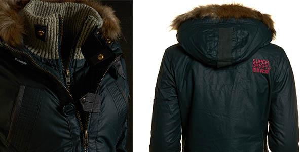 abrigo Superdry casual para mujer con borreguito en la capucha y forro extraíble
