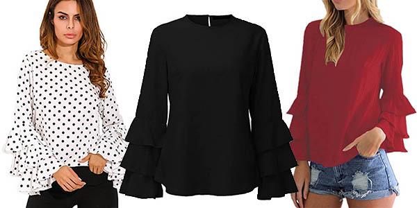 blusa manga larga con volantes StyleDome para mujer barata