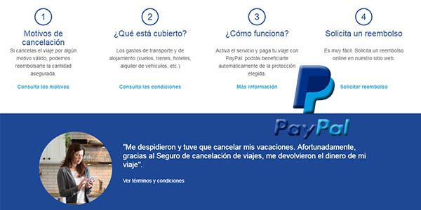 cobertura seguro de cancelación vuelos y hoteles para reservas con PayPal