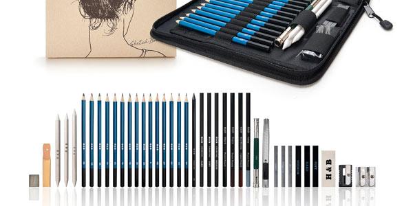 set de dibujo artistico con lapices de grafito y carboncillo barato en Amazon