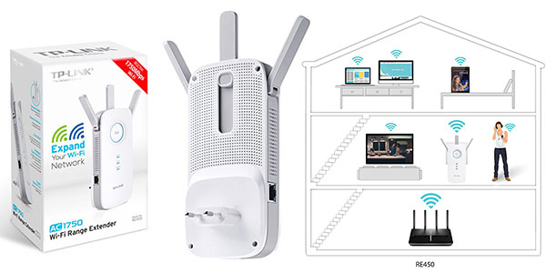 Extensor de red WiFi TP-Link AC1750 RE450 dual band 1750 Mbps rebajado