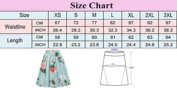 Guía de tallas de las faldas plisadas Grace Karin con largo midi estilo vintage chollo en Amazon