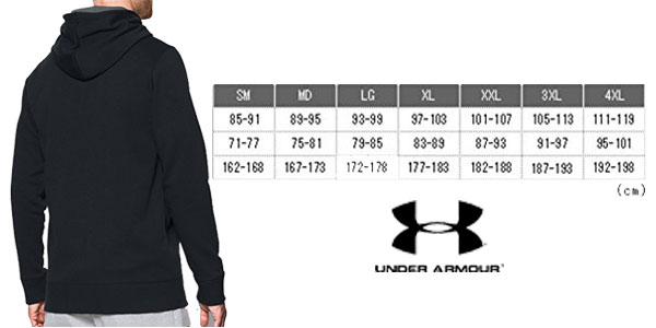 Guía de tallas Sudadera Under Armour Storm AF Icon Full Zip Hoodie