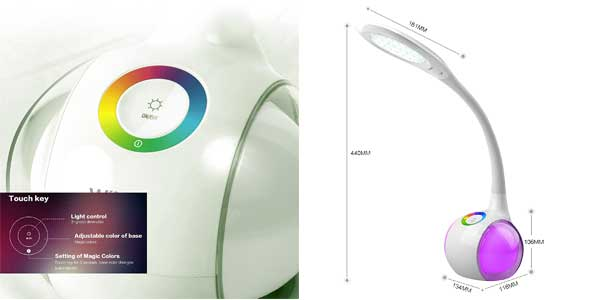 Lámpara LED Wilit de mesa con luz multicolor regulable, panel táctil y 3 niveles de brillo barata en Amazon