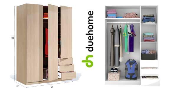 Armario ropero Habitdesign de Duehome con 3 puertas y 3 cajones en color roble chollazo en eBay