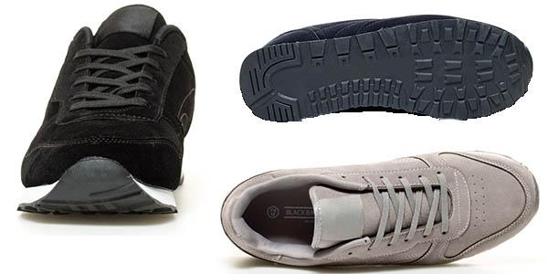 bambas de terciopelo combinables para hombre cómodas Black Barred Chaussures
