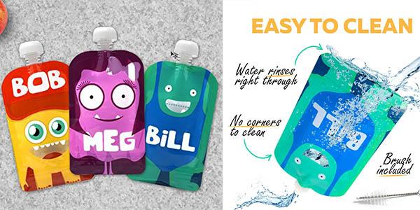 bolsas reutilizables divertidas y herméticas para llevar puré de bebés con genial relación calidad-precio