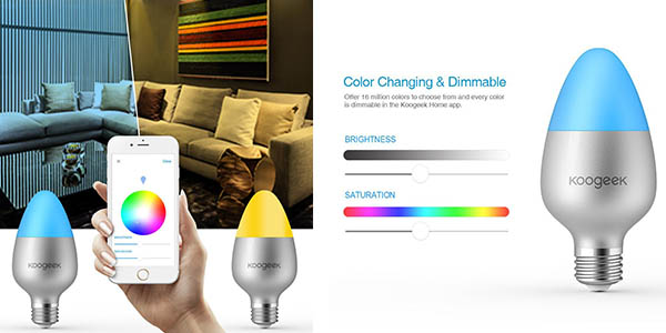 bombilla LED E27 regulable Koogeek programable con aplicación smartphone y código descuento 3EP9TAVF