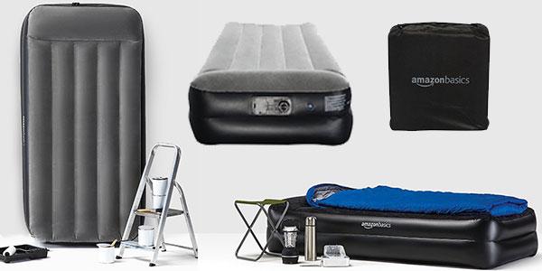 Cama hinchable AmazonBasics individual con bomba de aire de color gris al mejor precio