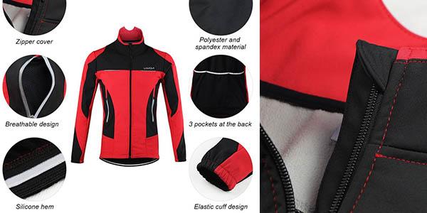 chaqueta térmica de ciclismo Lixiada con genial relación calidad-precio