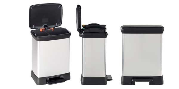 Cubo de basura doble Curver Decobins con pedal de 30 litros chollo en Amazon