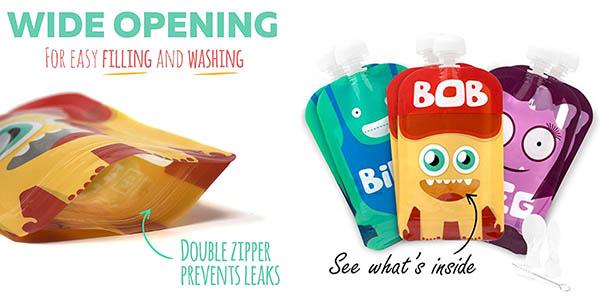 funcionales recipientes para transportar comida triturada para niños con diseño Yummy Monsters