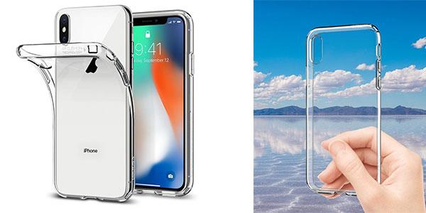 Funda Spigen Ultra Hybrid transparente para iPhone X barata