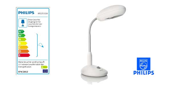 Flexo de escritorio Philips myHomeOffice con brazo flexible y luz blanca cálida chollo en Amazon