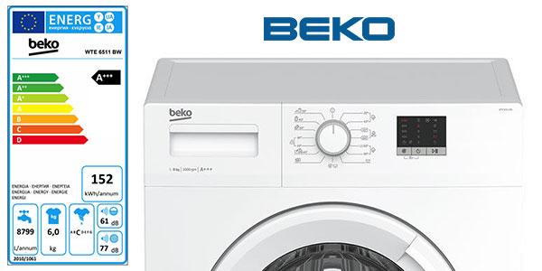Lavadora Beko WTE 6511 BW 6Kg 1000 rpm al mejor precio