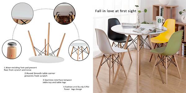 mesa con patas de haya y tablero blanco resistente imitación mesa Eiffel