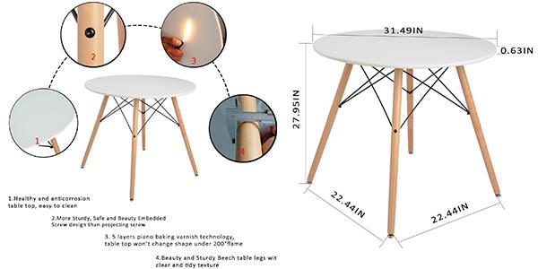 mesa redonda para comedor o cocina de diseño nórdico chollo