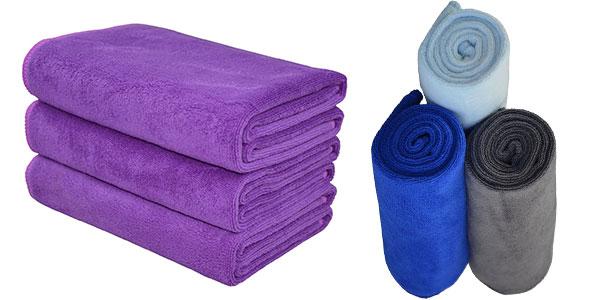 Pack de 3 toallas de microfibra (40 x 80 cm) barato