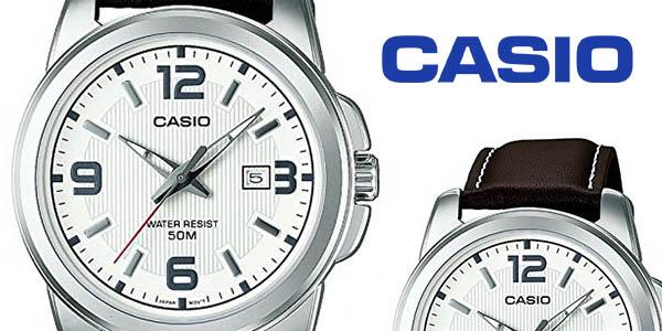 reloj para hombre Casio con correa de cuero y esfera grande precio brutal