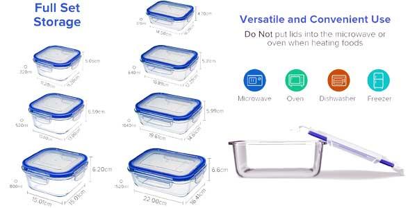 Set de 10 recipientes herméticos de vidrio baratos en Amazon