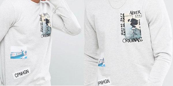 Sudadera Jack & Jones blanca con estampado de parche Originals para hombre al mejor precio