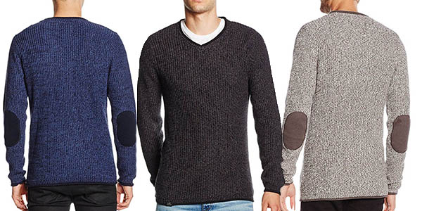 suéter versátil elegante para hombre con coderas y cuello en pico barato