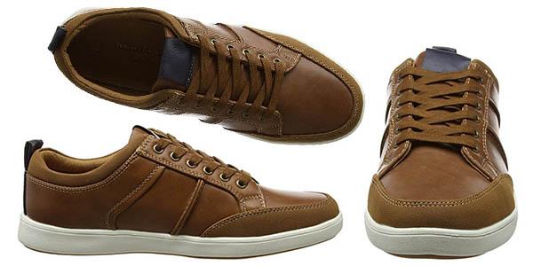 zapatillas de imitación en cuero New Look Euro Trainer suela plana