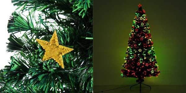 Árbol de Navidad artificial Homcom de hojas verdes con decoración y luces LED chollazo en eBay