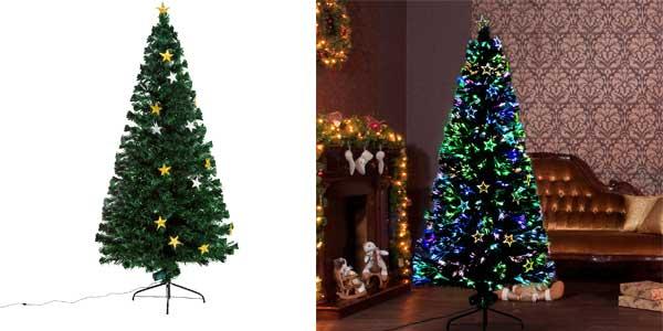 Árbol de Navidad artificial Homcom de hojas verdes con decoración y luces LED chollo en eBay