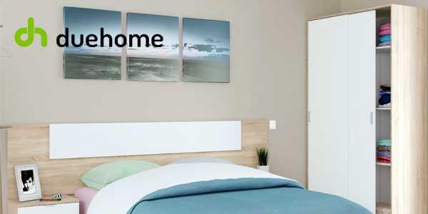 Armario ropero Due-Home de puertas correderas con tres estantes en blanco y roble chollazo en eBay