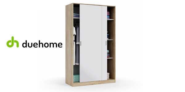 Armario ropero Due-Home de puertas correderas con tres estantes en blanco y roble chollo en eBay