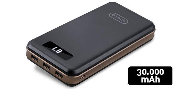 Batería externa iMuto de 30.000 mAh con 3 puertos USB