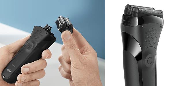 Braun Series 3 300s Black máquina de afeitar recortadora con adaptador voltaje universal y batería Ni-MH