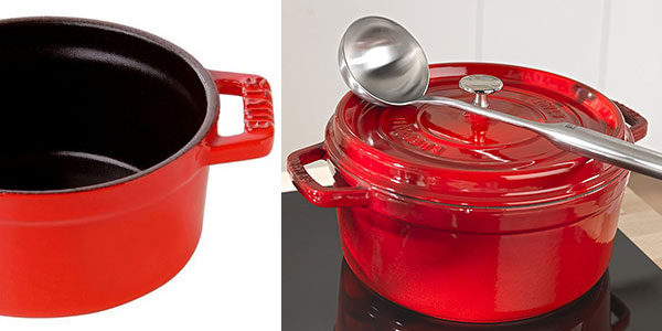 Cacerola redonda cocotte Staub de 24 cm de color rojo cereza barata