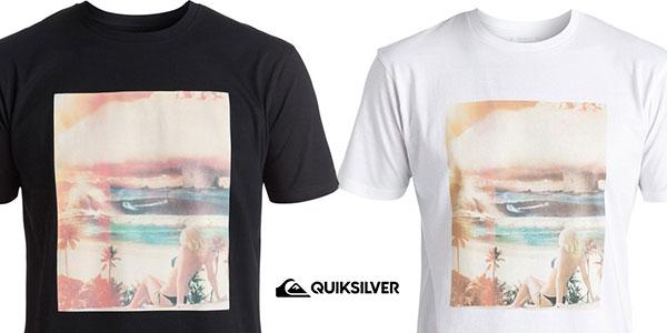 Camiseta Quiksilver Classic World War Pipe en blanco y en negro para hombre rebajada