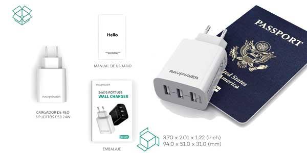Cargador móvil RAVPower con 3 puertos USB (30W, 5V/6A) barato en Amazon
