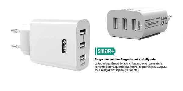 Cargador móvil RAVPower con 3 puertos USB (30W, 5V/6A) chollo en Amazon