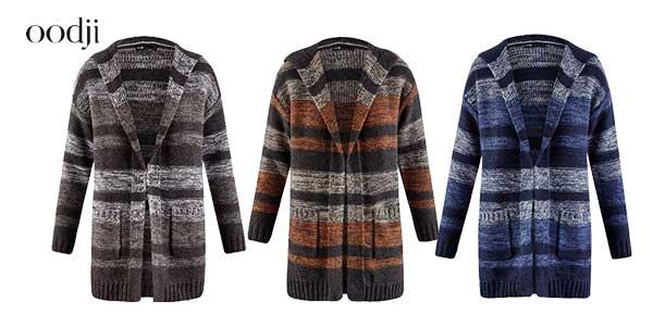 Cárdigan de punto a rayas con capucha en 3 colores para mujer barato en Amazon