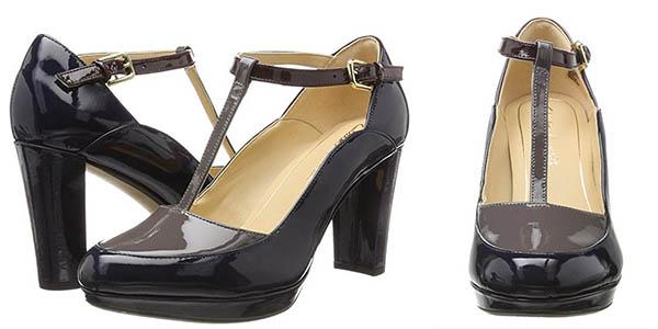Clarks Kendra Daisy zapatos azul marino charol para ocasiones formales