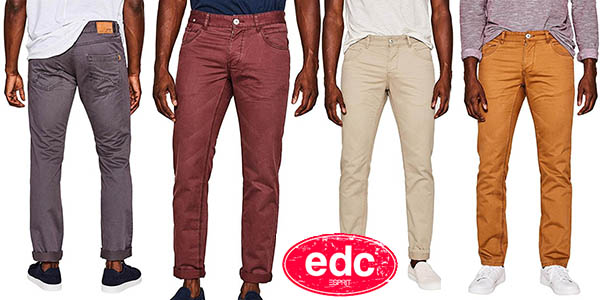 EDC by Esprit pantalones chinos para hombre chollo