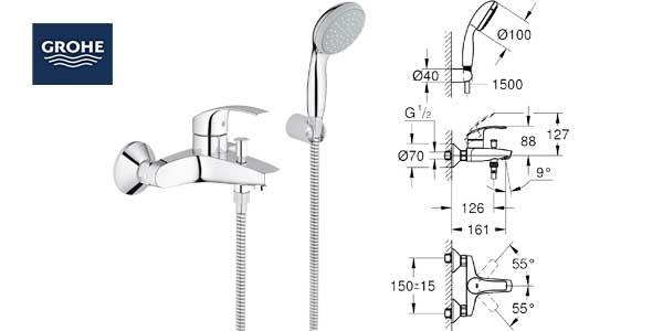 Grohe 33302002 EcoJoy - Grifo mezclador de bañera y set de ducha chollazo en Amazon